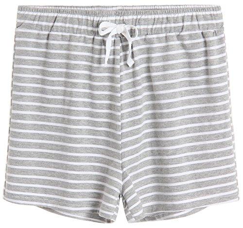 (Latuza Women's Cotton Striped Pajama Shorts L Light Gray )