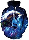 Leapparel Teen Boys Hoodies Colourful Unicorn Pullover Cool Sweatshirt for Girl with Big Pocket Graphic Prints Coat Blue S/M