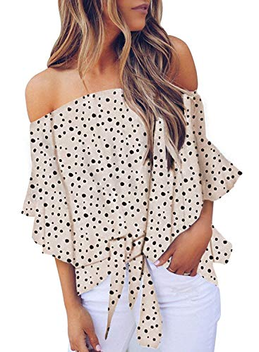 FARYSAYS Women's Off Shoulder Polka Dots 3/4 Bell Sleeve Shirt Tie Knot Chiffon Blouses Tops White Medium