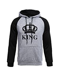 Masall Couple Hoodies King and Queen Print Lovers' Hooded Sweater Cute Outfit Coat