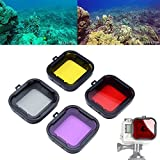Asiv® 4 in 1 Water Sport Floating Dive Filter (Red + Yellow + Grey + PUrple) For GoPro Hero 3+ 4 Standard Housing Color Correction Accessories with ABS Plastic frame, Professional Lens Filter Accessory Kit for water sports, underwater photography