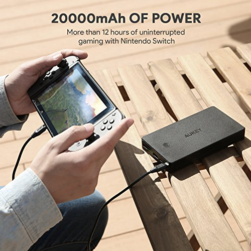 AUKEY 20000mAh USB C power Bank having 18W power delivery Battery Pack 3 Outputs compact Charger for iPhone 8 Plus X Nintendo Switch and significantly more Wall Chargers