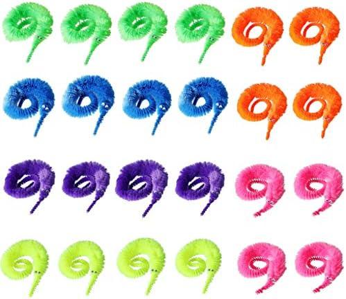 Sisit Orugas Magicas,Juguetes de Gusanos M/ágicos,Wiggly Fuzzy Carnival Party Favors,Wiggly Vivid Worm Trick Toys,6pcs