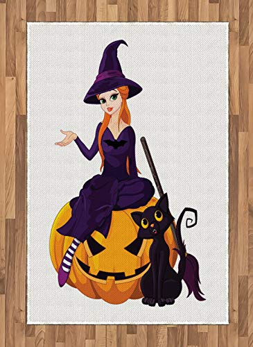 Witch Area Rug Cute Girl in Costume Sitting