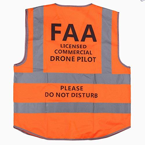 MYRIANN DJI Drone Safety Reflective Vest,Cool Cloth Vest with Commercial Drone Pilot Please Do Not Disturb,Excellent Flight Experience with DJI Inspire,DJI Phantom 3 4, DJI Mavic Pro (Orange, XXL)