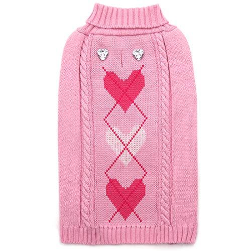 kyeese Dog Sweater with Leash Hole Heart Pattern Dog Sweaters Turtleneck Knitwear Warm Pet Sweaters for Fall Winter
