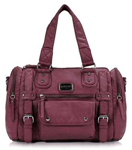 Scarleton Satchel Handbag for Women, Ultra Soft Washed Vegan Leather Crossbody Bag, Shoulder Bag, Tote Purse, Purple, H148516