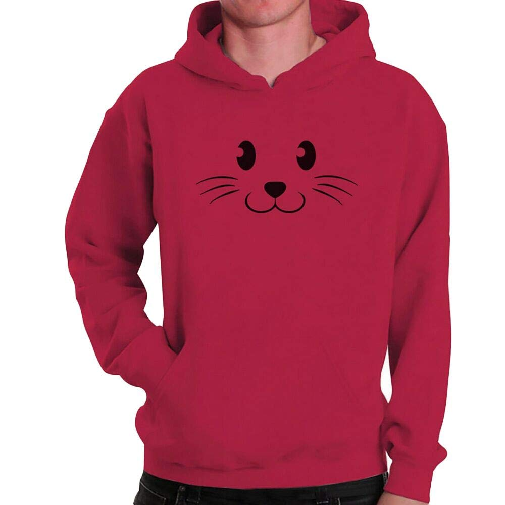 Amazon.com: WM & MW Mens Pullover Fashion Casual Long Sleeve Cute Cat Print Sweatshirt Hoodie Hooded Blouse Tops: Clothing