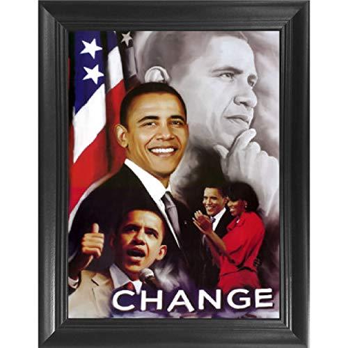 President Barack Obama Change Portrait 3D Poster Wall Art Decor Framed Print | 14.5x18.5 | Lenticular Posters & Pictures | Memorabilia Gifts for Guys & Girls Bedroom | Political Icon, American Leader
