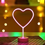 Led Neon Lights, LoveNite Heart Shape Sign Art Indoor Decorative Glowing Night Light for Wall Decor Home Party Festival Decoration Kid Baby Living Room (Pink, Heart)