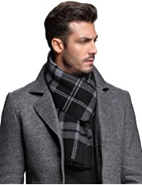 Ellettee, 100% Australian Wool Men Scarf Classic Knitted Long NeckwearStripe Plaid Scarves