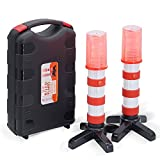 Heliar Early Warning LED Road Flares Stciks, Alternative to Roadside Safety Triangle, High Reflective, Far Visible, 2 Pack Kit with Storage Case