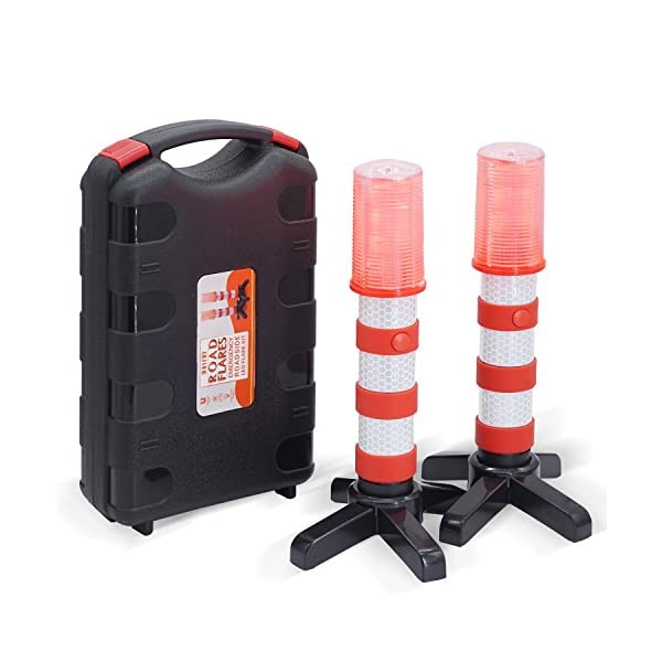 Heliar Early Warning LED Road Flares, Alternative To Roadside Safety Triangle, High Reflective, Far Visible, 2 Pack Kit With Storage Case