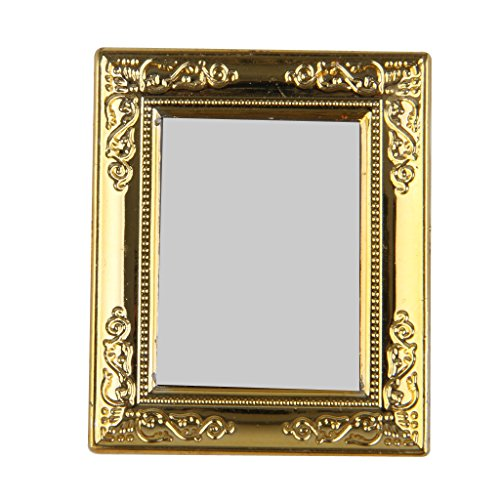 Doll Mirror (1/12 Doll House Miniature Mirror with Gold Frame)