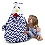 UNIWA Stuffed Animal Bean Bag - 100% Cotton Canvas Cute Chick Storage Bean Bag Chair Cover Stuffie Seat Kids Plush Toys Towel Blanket Pillow Linens Organizer Zipper Bags 35""