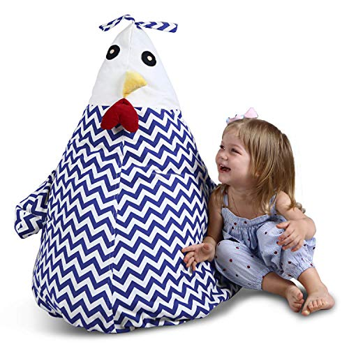 "- UNIWA Stuffed Animal Bean Bag - 100% Cotton Canvas Cute Chick Storage Bean Bag Chair Cover Stuffie Seat Kids Plush Toys Towel Blanket Pillow Linens Organizer Zipper Bags 35"""