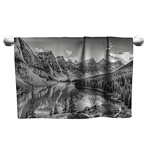 DUCKIL Absorbent Towel Black and White Decor Mountain Creek Lake by The Hills Canadian Rocky Valley Peaceful Landscape Bathroom Towel 63 x 31 inch Grey