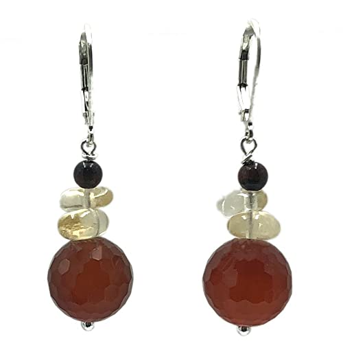 69607768b Amazon.com: Faceted Round Carnelian Citrine and Tiger Eye Sterling Silver  Lever Back Earrings: Handmade