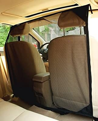 NAC&ZAC Pet Barrier for Cars, Suvs and Trucks - High See Through Net Dog Barrier Keeps Dog and Dog Hair Out of Front Seat