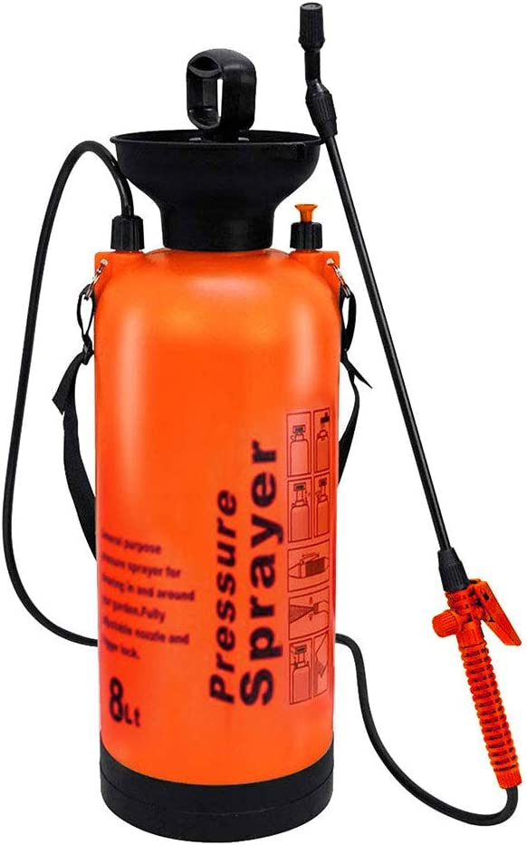 Kerrogee 2 Gallon Garden Sprayer Portable Pump, Hand Sprayer with Shoulder Strap for Watering Plants, Car Washing (Orange)