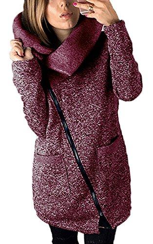 Lucao Women's Fashion Side Zipper Long Jacket Lapel High Trench Coat Outwear With Pockets Plus Size Purple-XL