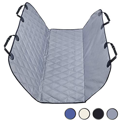 Vivaglory Dog Car Seat Covers with Hammock Protectors, Padded & Durable 600 Denier Oxford with Anti-Slip Backing for Front Seat, Buckets, Fits Most Cars, SUVs & MPVs, Grey, 58