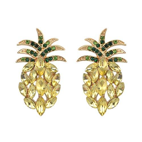 Antique Vintage Retro Style Yellow Pineapple Rhinestone Cluster Earrings -
