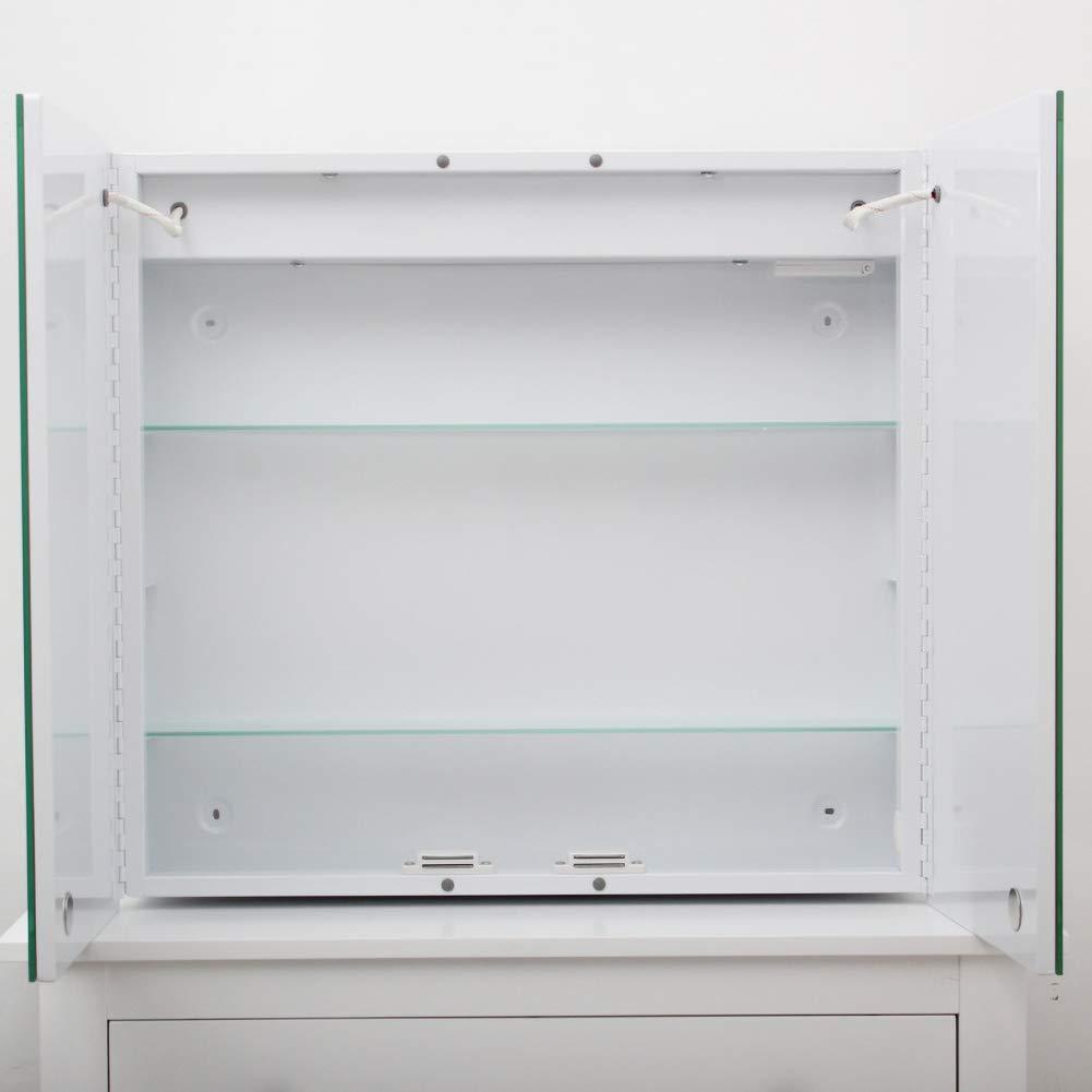 Stil 1 Steckdose Lifelook Spiegelschrank mit Beleuchtung Badschrank Aluminium Badezimmer Spiegelschrank mit Sensorschalter Bluetooth Lautsprecher Demister-Pad 65x60x13cm