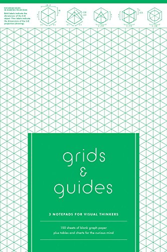 Grids & Guides: 3 Notepads for Visual Thinkers (3 designs in blue, green, red, tear-off sheets, 50 sheets each, 6 x 9 in) (Grid Generation)