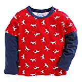 CrayonFlakes Blue Cotton Long Sleeve Shirt with Red Bow Tie