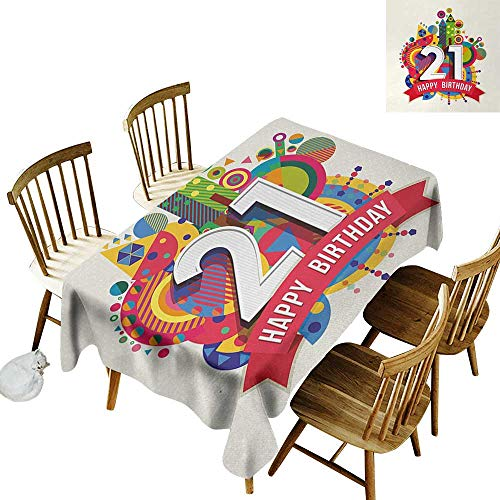 21st Birthday Anti-wrinkle and anti-wrinkle polyester long tablecloth Colorful Design Happy Birthday Themed Image with Geometrical Castle Print For weddings/banquets W70 x L120 Inch Multicolor