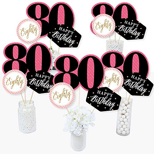 Chic 80th Birthday - Pink, Black and Gold - Birthday Party Centerpiece Sticks - Table Toppers - Set of 15]()