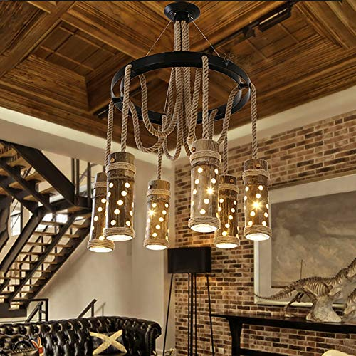 (Pendant Light Retro Industrial Natural Hemp Rope Six Heads Metal Iron Bowl Shade Pendant Ceiling Light,Industrial Style Hanging Lamps for Dining Room 1pcs,No.2 )