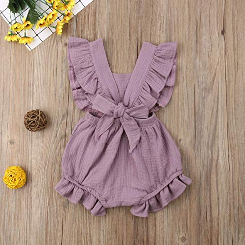 Infant Baby Girl Bodysuit Sleeveless Ruffles Romper Sunsuit Outfit Princess Clothes (Purple, 12-18 Months) by C&M Wodro (Image #1)