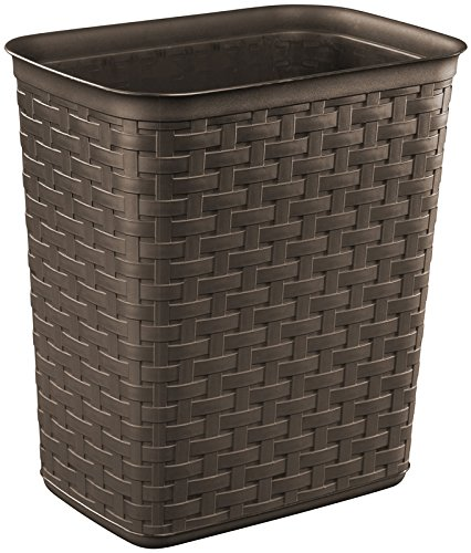 Sterilite 10346p06 Weave Pattern Wastebasket, Espresso, 3.4 Gallon