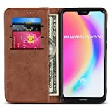 Huawei P20 Lite Wallet Case, Huawei Nova 3E Wallet Case, Wallet Phone Case Full Protection Flip Leather Cover Card Slot Holder with Kickstand for Huawei P20 Lite/Nova 3E (Dark Brown)