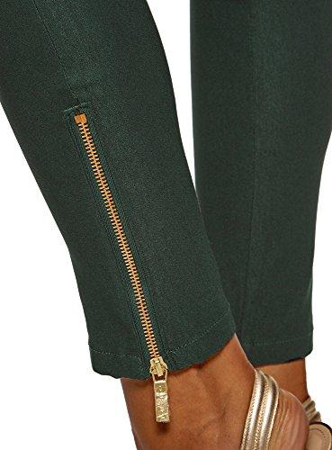 Verde 6900n Ultra Oodji Aderenti Zip Con Decorative Donna Pantaloni q1PqwUC