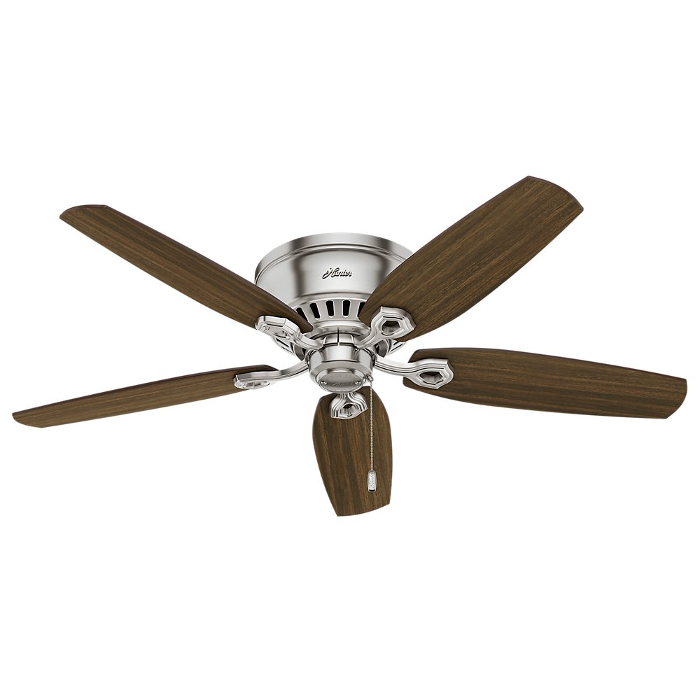 Amazon hunter fan company 53328 52 builder low profile ceiling amazon hunter fan company 53328 52 builder low profile ceiling fan with light brushed nickel hunter fan company mozeypictures Image collections