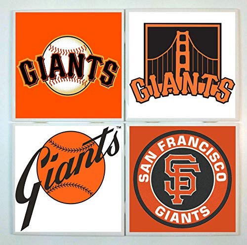 San Francisco Giants Coasters - set of 4 tile coasters - baseball (Francisco Coaster Giants San)