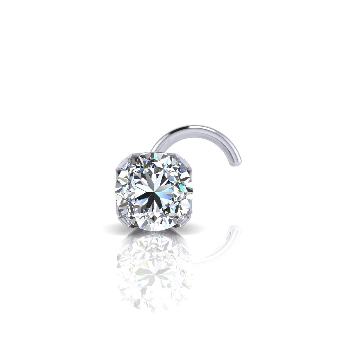 1.5mm 0.015 Carat Diamond Stud Nose Ring In 14K White Gold by Sparkle Bargains