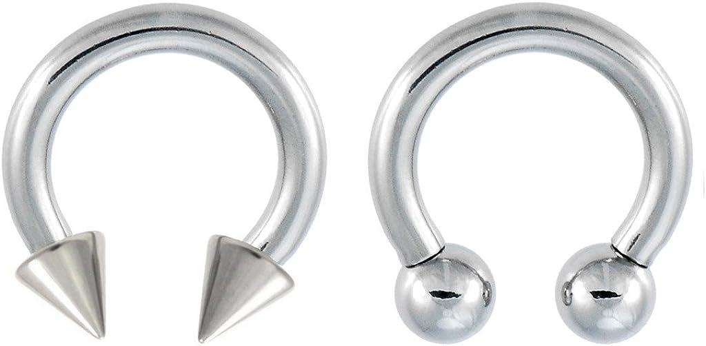 2g Black IP Spike Horseshoe Circular Barbell Ear Tragus Septum Labret 1PC 18G