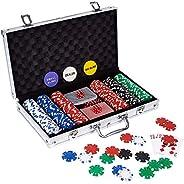 LOCKYOUNG Poker Chips Set, 200PCS/300PCS Poker Chips Set Texas Holdem Blackjack Gambling Chips Aluminum Case