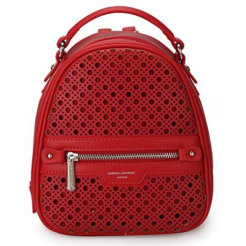 DAVIDJONES Small PU Leather Backpack Mini Purse Handbags for Women -- Red (Leather Lined Mini Bag)