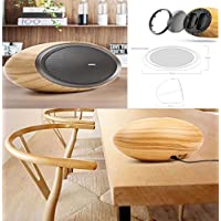 Wood Grain Bluetooth Speaker V4.2 Perfect Arc Shape Desktop Stereo Speaker 10W2 Output Power w/ Enhanced Bass, High Fidelity Sound AUX-In & DC12V 2A for Smartphones Tablets Laptop Computer PC TV
