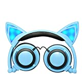 Foldable Flashing Glowing cat ear headphones Gaming Headset Earphone with LED light For PC Mobile Phone (Blue)