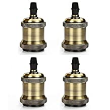 MKLOT 4 Packs E26 Socket Screw Bulbs Edison Minimalist Retro Vintage Pendant Lamp Holder With Wire Without Switch 110-220V, Antique Brass