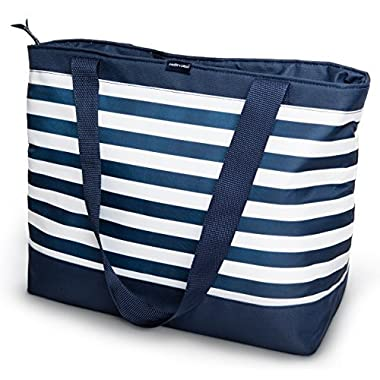 Freddie and Sebbie Collapsible Cooler Bag, Insulated Lunch Cooler, Perfect Size For The Beach, Picnic, Outdoor, Sports, Hiking, Camping or Grocery Cooler - Navy Blue & White