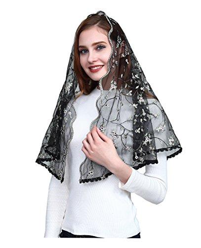 Orthodox Veil Embroidered Head Covering Catholic Chapel Mantilla veil V48 (dark color)