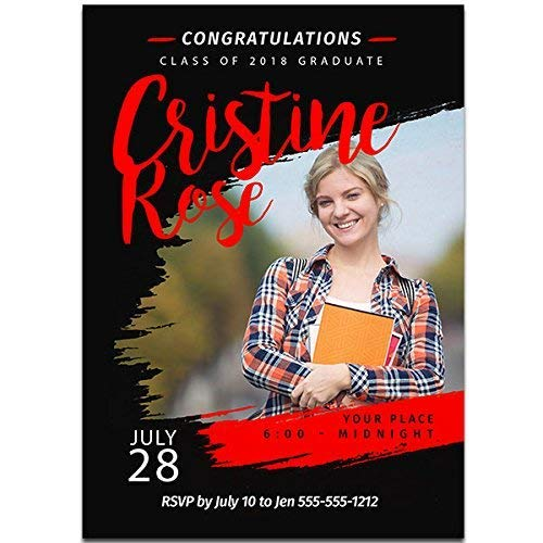 - Black and Red Custom Photo Graduation Invitation