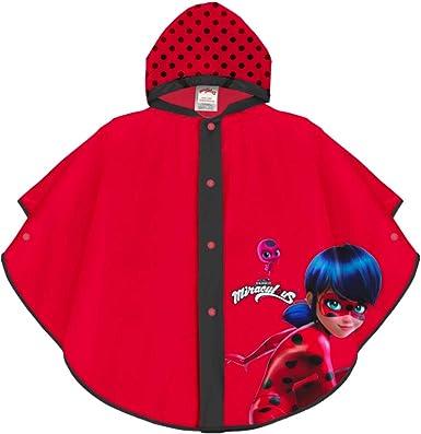 PERLETTI Poncho Impermeable Miraculous Ladybug - Chubasquero de Lluvia Niña Estampado Lady Bug y Lunares - Rojo y Negro con Capucha y Botones - ...